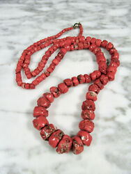 Large Antique Victorian Red Italian Coral Nugget Bead Necklace 36 3/4 138.3g