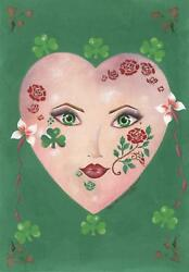 ART NOUVEAU COSTUME MASK IRISH GREEN CLOVER GARDEN GIRL LASS RED ROSE PAINTING
