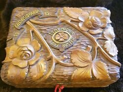 Wwii Hand Carved Box 1945 Signed 75 Year Old War Time Piece