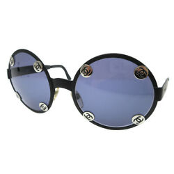CHANEL Vintage CC Logos Round Sunglasses Eye Wear Black 08841 94305 JT09030b