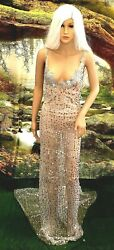 JOSIE Silver White Sequin Crystal Sheer Stretch Tulle Sheath Bridal Wedding Gown