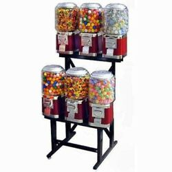 6 Unit Classic Gumball Vending Machines On Rack Stand