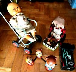 Amazing Vintage Rare Lot Tin B/o- Wide Up - Japan Litho Toys From 60s