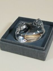 Steuben Glass Hen Hand Cooler | Signed Lead Crystal Art Chicken With Bottom Box