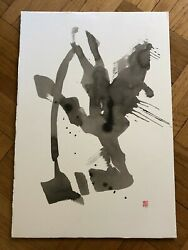 Modern Chinese/japanese Original Abstract Ink Brush On Paper