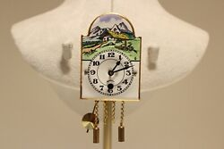 VINTAGE RARE MINI WALL MECHANICAL CLOCK WITH PAINT PORCELAIN DIAL MINT