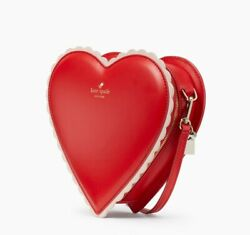New Authentic Kate Spade Chocolate Heart Yours Truly Red Leather Bag Wkru6873