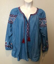 NWT Style&Co Women's Embroidered Denim Looking Peasant Top WTassels Plus Sizes