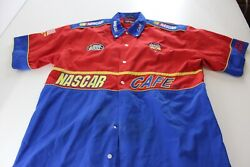 Nascar Cafe Thick Embroidered Back Panel SHORT SLEEVE BUTTON UP SHIRT 2XL XXL