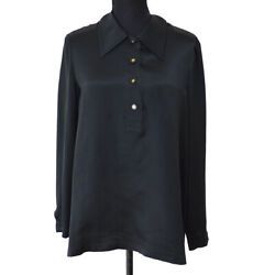 CHANEL 94A #40 CC Logos Long Sleeve Tops Blouse Shirt Black Silk Auth Y04228