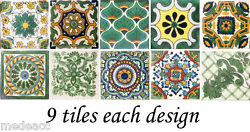 Special 90 Mexican Tiles Talavera Clay Green Colors 4x4 Different Designs 002