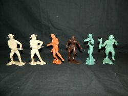 Lot Of 6 Large Marx Plastic Figures Cowboy Indian Soldiers