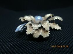 Vintage Gorgeous 750 18k Pearl And Diamonds Brooch