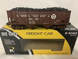 ✅k-line By Lionel Die Cast Pennsylvania 2 Bay Outside Braced Hopper And Real Coal