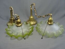 2 Antique French Art Satin Glass Pendant Ceiling Shade Lights Lamps Frilly Green
