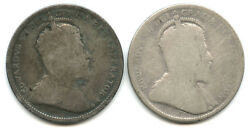 Set Of 2 1904 And 1905 Canada Silver Quarters
