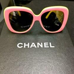 CHANEL VINTAGE SUNGLASSES PINK YELLOW COCO MARK With box chanel (227)