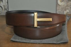 Authentic New Tom Ford T Icon Buckle Reversible Leather Belt