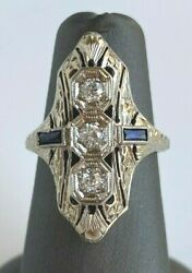 Antique 3 Stone Diamond And Sapphire Dinner Ring In Excellent Condition 18k Wg