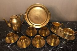 Pickard And Hutschenreuther Selb Bavaria Rose And Daisy Gold Embossed Coffee Set.