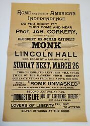 Lincoln Hall Broadside - Prof Jas Corkery Celebrated Lecturer Phila Pa 1880s