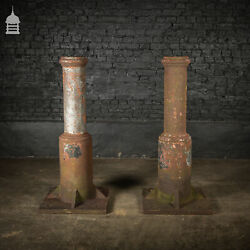 Pair Of 19th C Cast Iron Industrial Column Bases Large Porch Stanchions