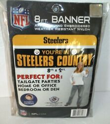 Pittsburgh Steelers Nfl Flag 8' X 2' Banner Applique And Embroidered Nylon Quality