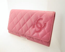 Chanel Cover Type Long Wallet A80212 Simply CC Matrasse Pink