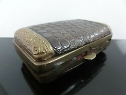 Victorian Leather And Embossed Ornate Ormolou Brass Coin Purse Wallet Two-sided