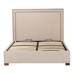 86 Queen Storage Bed Brass Nail Head Trim Solid Wood Frame Modern Polyester
