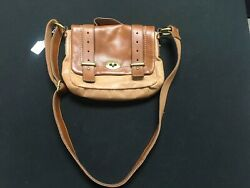 Rare Fossil Messenger Two Tone Tan And Brown Purse Excellent Condition