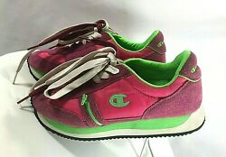 Pink Lime Green Champion Tennis Shoe Size 7.5 Classic 80 Style Dual Laces Zipper