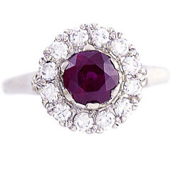 Ruby And Diamond Halo Engagement Ring | 14k White Gold 1.5 Ctw Ruby Size 6