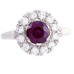 Ruby And Diamond Halo Engagement Ring   14k White Gold, 1.5 Ctw Ruby, Size 6