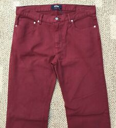 Vilebrequin Mens Straight Jeans Burgundy Red Size 52 - Us Size 36 X 34 Stretch