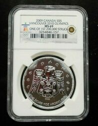 2009 Canada Silver Vancouver 2010 Olympics Ngc Ms69 Free Shipping