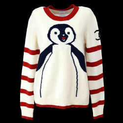 Long Sleeve Penguin Knit Sweater Ivory Red Wool Vintage 42 Ak38167d