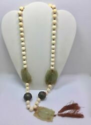 Antique Asian Green Carved Serpentine Double Fish Koi Hand Knotted Bead Necklace