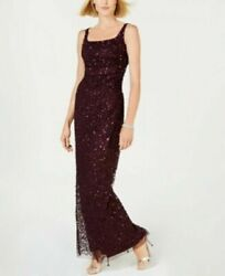 New Adrianna Papell Ruched Sequined Prom Evening Women#x27;s Dress Size 14 Plum NWT $41.65