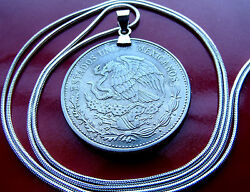 1980-1982 Mexican Eagle And Snake 20 Peso Coin On A 28 White Gold Filled Chain