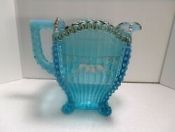 EAPG Northwood Glass Alaska Blue Lions Leg Forget-Me-Not Decorated Pitcher