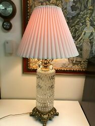 Vintage Glass Cylinder Prism Table Lamp 35 Tall 27 Tall Bottom To Socket