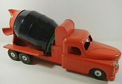 Structo 1950and039s Toys Ready Mix Concrete Truck Pressed Steel Vintage 21and039and039 Orange