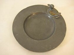 Old Chinese Pure Soft Pewter Wine Coaster Or Pin Tray/ash Tray With Duck