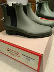 BRAND NEW NEVER WORN HUNTER MEN'S REFINED CHELSEA BOOTS 13 $155 OLIVE