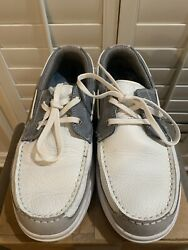 Margaritaville Anguilla Menandrsquos Boat Shoes Gray/white Leather 10.5