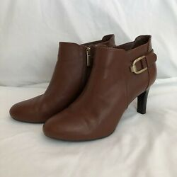 Women's Bandolino Ankle Boots 8 M Brown Genuine Leather Zip Up Dress Heels