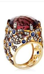 Amethyst And Blue Sapphire And Diamond Ring