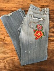 Squeeze Distressed Embroidered Women's Jeans With Patches Light Denim Size 3 L28