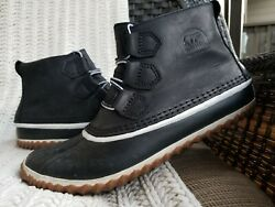 Nice!!! Women's SOREL Out N About Waterproof LEATHER Duck Ankle BOOTS sz 9